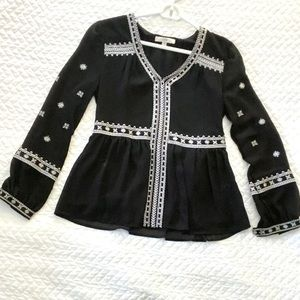 XS Black Embroidered Top